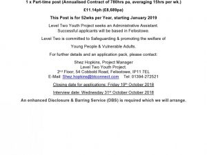 1 x Part Time Post at Level Two Youth Project